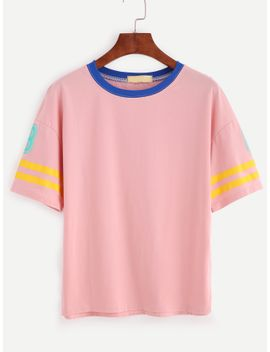 pink-number-print-contrast-striped-trim-t-shirt by romwe