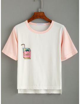 white-print-contrast-trim-dip-hem-t-shirt by romwe