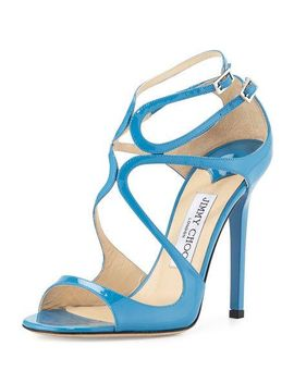 lang-patent-strappy-100mm-sandal,-robot-blue by jimmy-choo