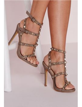 studded-heeled-gladiator-sandals-taupe by missguided