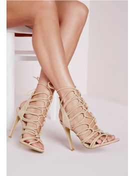 rope-lace-up-gladiator-heeled-sandals-nude by missguided