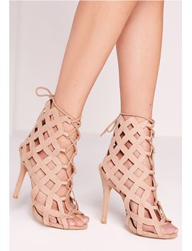 laser-cut-lace-up-gladiator-heels-nude by missguided