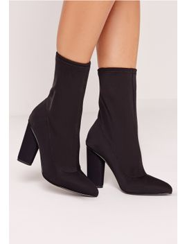 pointed-toe-neoprene-heeled-ankle-boots-black by missguided
