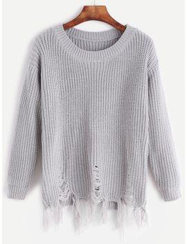 grey-distressed-fringe-hem-sweater by romwe