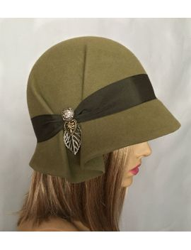 amelia,-fur-felt-cloche-millinery-hat-from-the-downton-abbey-era,-khaki-green-color by luminataco