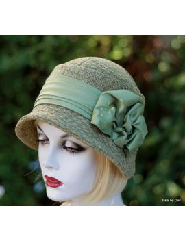 20s-trendy-cloche-hat-downton-abbey-great-gatsby-in-sage-green-tweed by gailshats