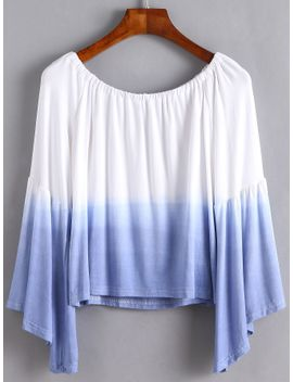 ombre-boat-neck-bell-sleeve-t-shirt by romwe