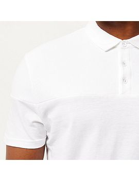 white-ribbed-panel-polo-shirt by river-island