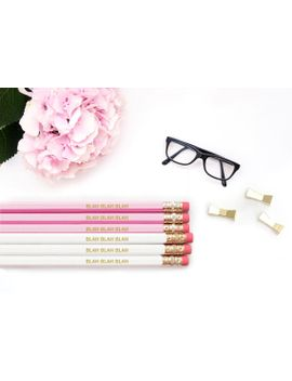 engraved-pencils-_-blah-blah-blah-_-pink-and-gold-_-gold-foil-engraved-_-personalized-pink-pencil-set-_-back-to-school by macaronsandmimosas