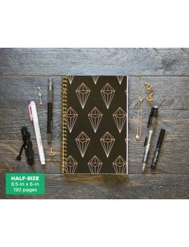 black-rose-gold-geometric-planner-_-weekly-_-half-size-_-12-months-_-choose-your-layout-(vertical-or-horizontal)-_-pick-your-starting-month by ruskerville