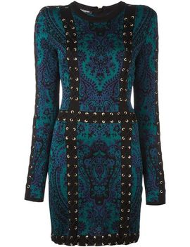 baroque-lace-up-effect-dress by balmain