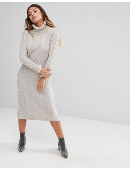 fashion-union-roll-neck-maxi-dress-in-textured-knit by fashion-union