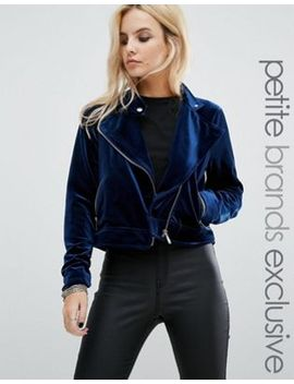 noisy-may-petite-velvet-biker-style-jacket by noisy-may-petite