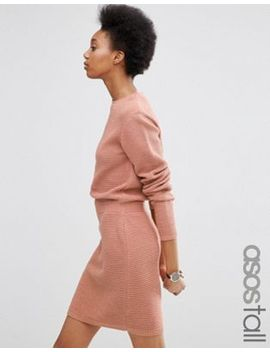 asos-tall-elasticated-waist-dress-in-mixed-stitch by asos-tall