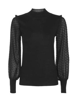 tall-heart-chiffon-hybrid-knitted-jumper by topshop