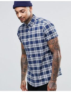 asos-check-shirt-in-linen-mix-with-short-sleeves by asos