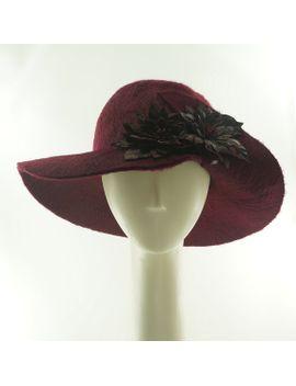 wide-brim-hat---flower-hat---felt-hat---vintage-style---burgundy-hat---beaver-felt-hat---wedding-hat---leather-flowers----handmade-hat by themillineryshop