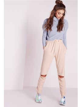 rip-knee-joggers-nude by missguided