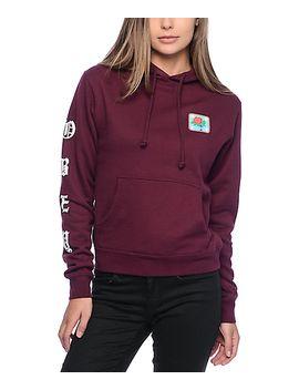 obey-spider-rose-burgundy-hoodie by obey