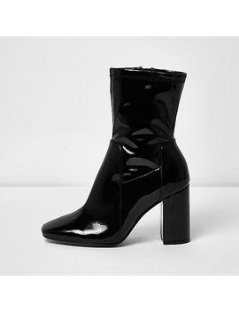 black-patent-wide-fit-block-heel-boots by river-island