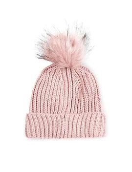 faux-fur-pom-pom-beanie-hat by topshop