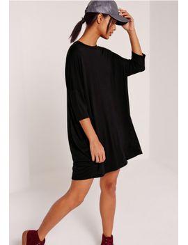 oversized-raglan-t-shirt-dress-black by missguided