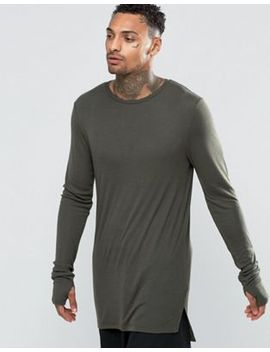 asos-fine-rib-super-longline-muscle-long-sleeve-t-shirt-with-thumbholes-in-khaki by asos