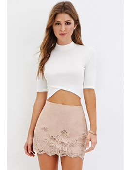 laser-cut-faux-suede-mini-skirt by forever-21