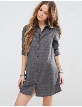 glamorous-shirt-dress-with-long-sleeves-and-subtle-check by glamorous