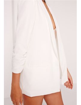 gathered-sleeve-tailored-blazer-suit-white by missguided