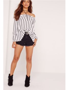 long-sleeve-stripe-bardot-top-white by missguided