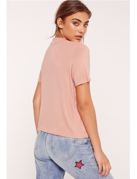 choker-neck-t-shirt-pink by missguided