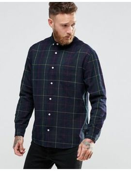 asos-skater-fit-grid-check-shirt-in-navy by asos