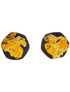 be-jewelled-gold-plated-oxydised-sterling-silver-hexagon-stud-earrings,-gold_black by be-jewelled