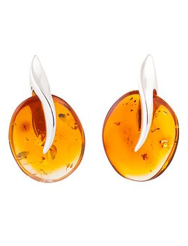 be-jewelled-sterling-silver-cognac-amber-abstract-drop-earrings by be-jewelled