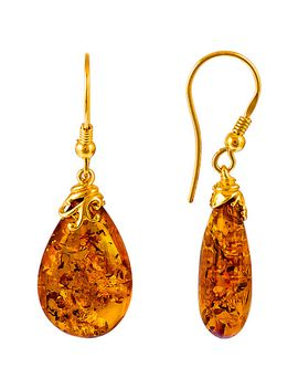 be-jewelled-gold-plated-sterling-silver-amber-drop-earrings,-amber by be-jewelled