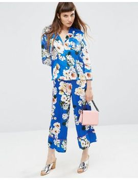asos-satin-floral-print-co-ord-wide-leg-trousers by asos-collection