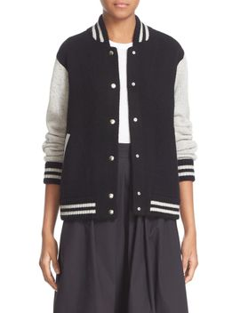 stripe-detail-wool-&-cashmere-knit-varsity-jacket by marc-jacobs