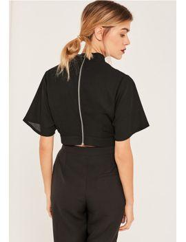 black-choker-neck-tie-waist-crop-top by missguided