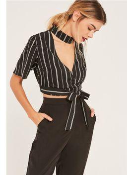 black-stripe-choker-neck-tie-waist-crop-top by missguided