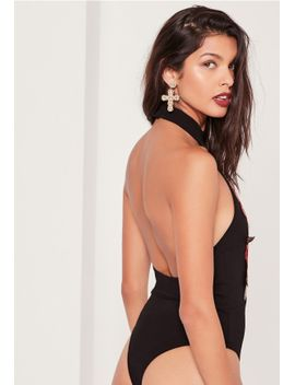 applique-tab-neck-bodysuit-black by missguided