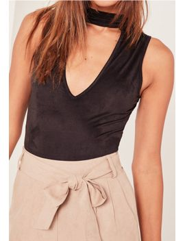 caroline-receveur-black-faux-suede-choker-neck-bodysuit by missguided