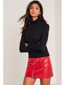 black-ribbed-roll-neck-long-sleeve-top by missguided