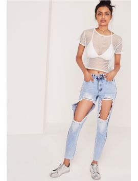 riot-high-rise-open-thigh-rip-mom-jean-blue by missguided