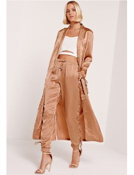 satin-lace-up-side-joggers-nude by missguided