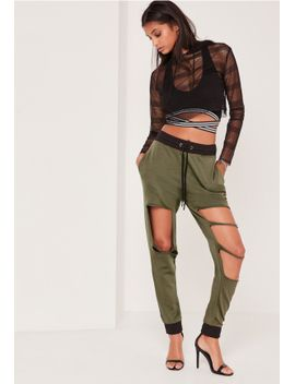 extreme-distressed-contrast-waist-jogger-khaki by missguided