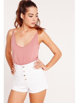button-front-high-waisted-denim-shorts-white by missguided