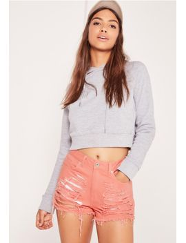 sinner-high-waisted-shredded-denim-shorts-pink by missguided
