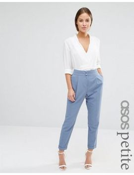 asos-petite-tailored-high-waisted-pants-with-turn-up-detail by asos-petite