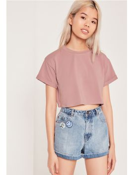 petite-exclusive-pink-roll-sleeve-crop-top by missguided